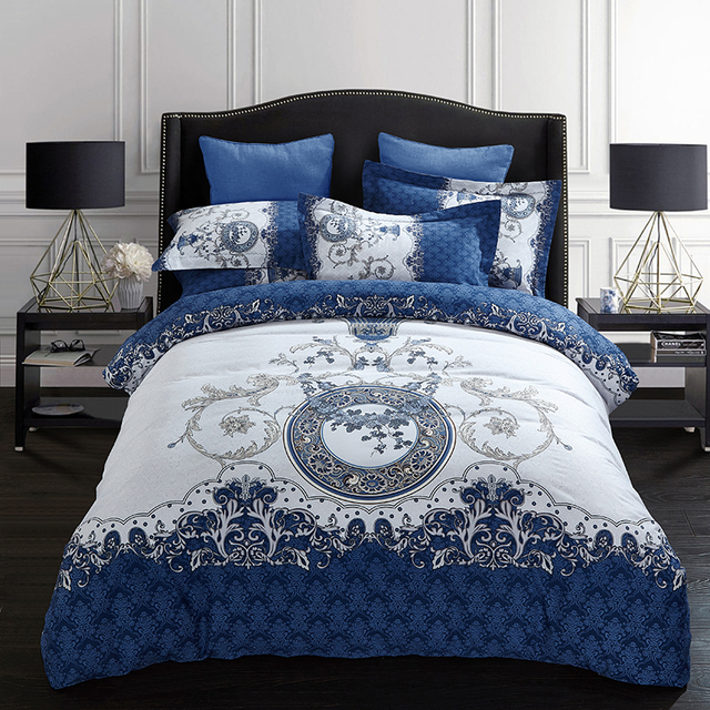 Blue And White Flower Vine Print Duvet Cover Set Bedlinens