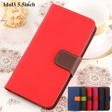 Flip Leather Case For Alcatel Idol 3 Cover Case With Card Holder Phone Bags Fundas Coque Stand For Alcatel Idol 3 5.5  inch