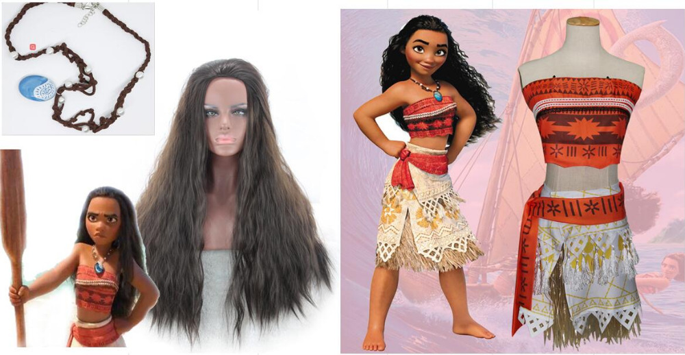 Women Moana Cosplay Costumes Moana Cosplay Outfit Wig Necklace 3pcs Set Halloween Christmas Carnival Disguise Costumes