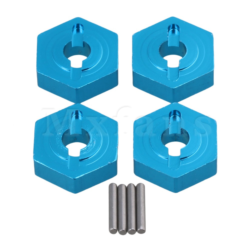 Mxfans Blue RC 1:16 12MM Wheel Hex Adapter 7154 Upgrade Part for TRAXXAS SLASH Rally Car Pack of 4 4pcs lot for rc 1 10 traxxas traxxas slash 4x4 upgrade parts aluminum wheel hex mount 12mm thickness 7mm