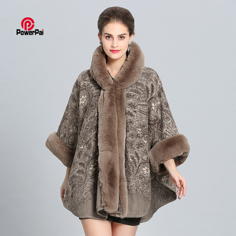 Occident Style Imitation Rex Rabbit Fur Cape Cloak Hooded Thick Paisley Wool Coat Poncho Shawl Mother