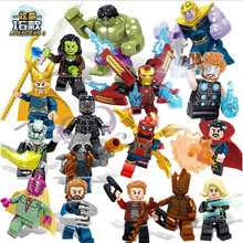 Avengers League Block Action Marvel DC Super Heroes Figures Legoing Hulk Captain America Superman Batman Thor Lron Man Toys