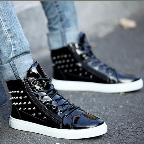 new 2014 men fashion flat casual shoes high toprivet punk