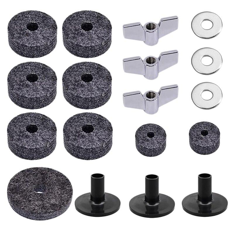 18Pcs Drum Set Cymbal Replacement Parts Accessories(3Pcs Cymbal Sleeves +3Pcs Wing Nuts +3Pcs Washers +9Pcs Wool Felt Pads)