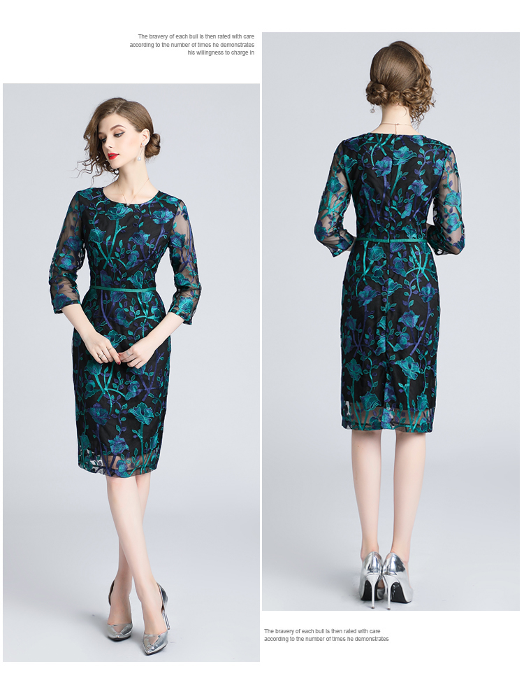 c88b1125f31a3 Autumn Green Embroidered Lace Bodycon Dress Vestidos Casuales Mujer 2019  Ladies Bandage Dress Roupas Feminina K9116