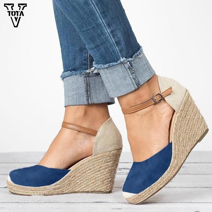 VTOTA 2018 Summer Women Sandals Wedges High Heels Shoes Woman Peep Toe Shoes Beach Ladies Shoes Fashion Platform Rome Plus Size vtota summer pep toe sandals women increased thick heel shoes woman wedge summer shoes back strap platform shoes for ladies