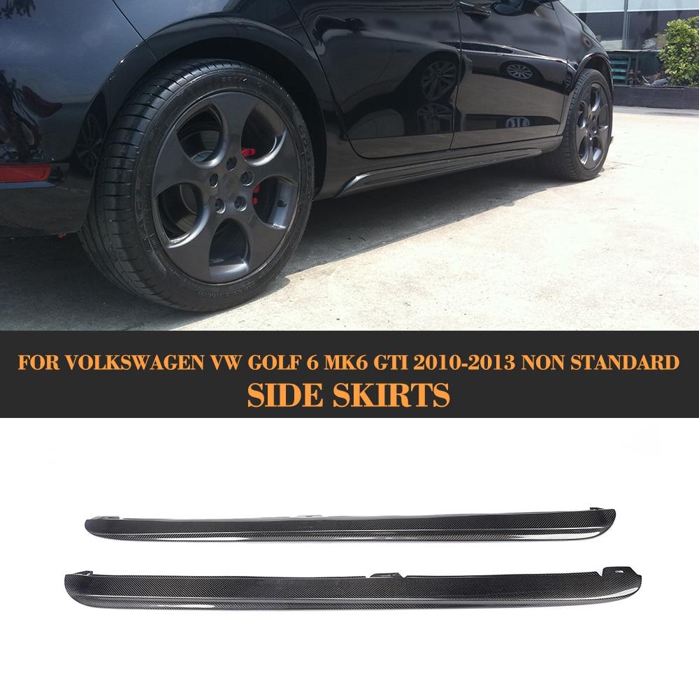 Carbon Fiber Car Side Skirts Aprons Body kits for Volkswagen VW Golf 6 MK6 VI Standard and GTI 10-13 Black PP цены