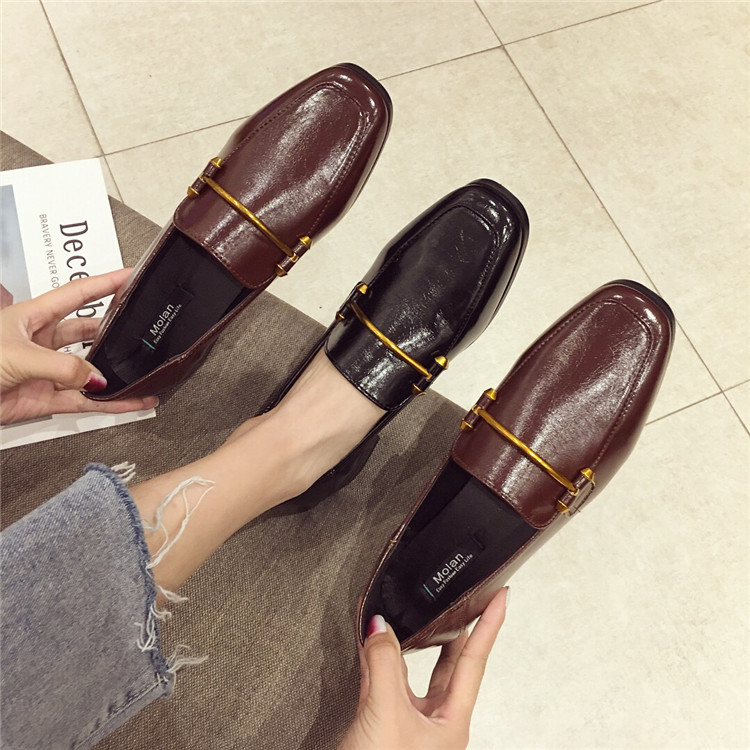 Fashion shoes for women 2018 new soft bottom British shoes woman square head single shoes female thick with flat shoes loafers 60