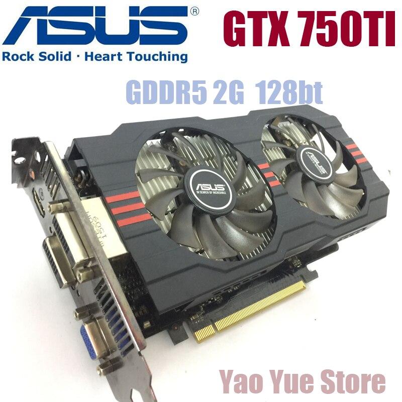 Asus GTX-750TI-OC-2GB GTX750TI GTX 750TI 2 г D5 DDR5 128 бит настольных ПК Графика карты PCI Express 3,0 компьютер видеокарты