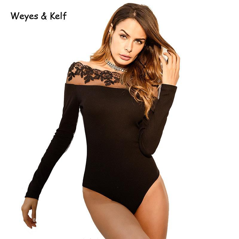Weyes & Kelf Summer Off Shoulde Beach Lace Bodysuits Women 2018 Spring Skinny Black Women Sexy Bodysuit For Woman Romper