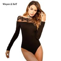 Weyes & Kelf Summer Off Shoulde Beach Lace Bodysuits Women 2018 Spring Skinny Black Women Sexy Bodysuit For Woman Romper