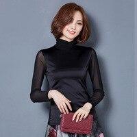 Long Sleeved T Shirt Womens Yarn 2017 Autumn New Korean Slim Was Thin Wild Turtleneck Top