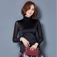 Long Sleeved T Shirt Womens Yarn 2017 Autumn New Korean Slim Was Thin Wild Turtleneck Top