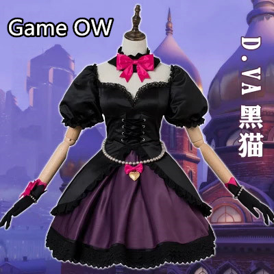 Anime! Game OW D.VA Black Cat Skin Gothic Lolita Dress Halloween Cosplay Costume For Women New 2018 Free Shipping
