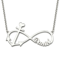 AILIN Personalized Infinity Anchor Name Necklace Sterling Silver Anchor Pendant Fashion Jewelry