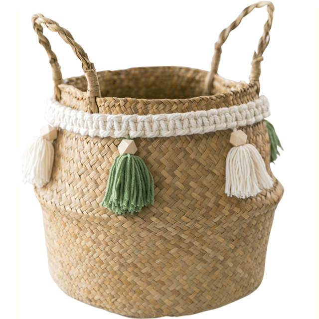 Handmade Decorative Storage Basket -Tassels