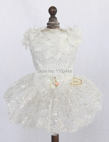 2014 Christmas Gift Puppy Dog Cat Clothing Pet Puppy Apparel Tutu Flower Dress Wedding Dress White