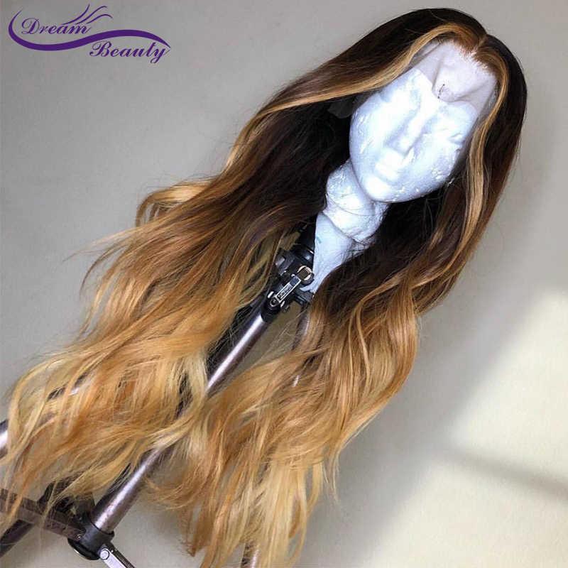 Dream Красота эффектом деграде (переход от темного к черный с Мёд светлые моменты человеческие волосы 13X6 Кружева Фронтальная парик бразильский Реми волнистые волосы парики из натуральных волос