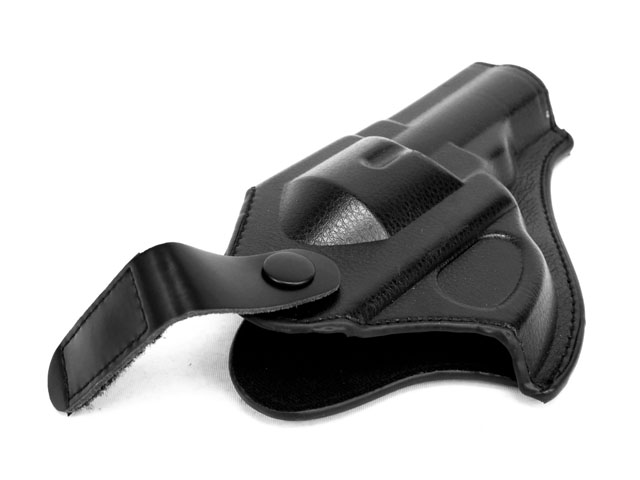 Image 2 - HOT! Leather Revolver Holster (Short)  Outdoor Hunting Airsoftsports Military Tactical Right hand Police pistol Holster Black-in Holsters from Sports & Entertainment