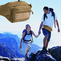 Man Outdoor Waterproof Waist Pack Canvas Shoulder   Bag   Military Tactical Pack Camping Hiking Pouch Waist   Bag   +Zipper Pocket