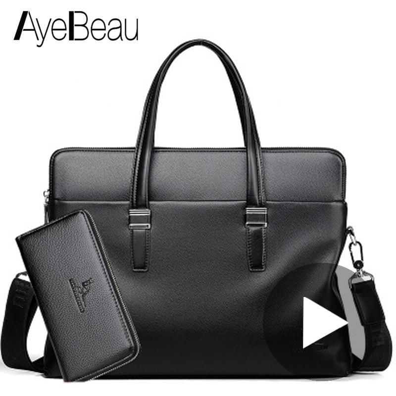 Portable Work Business Office Genuine Leather Male Messenger Bag Men Briefcase For Document Laptop Computer PC Handbag Shoulder