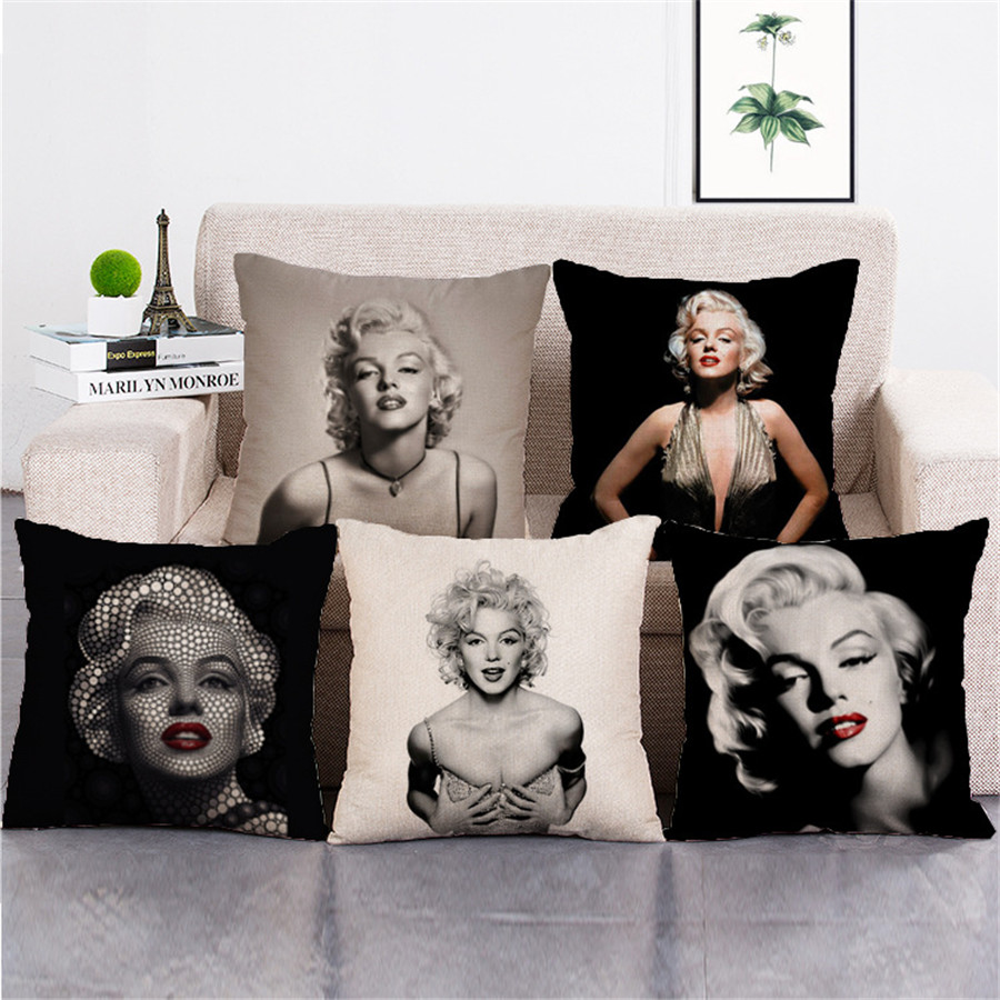 Custom Printed Throw Pillow Cases : KYYZROZZZ Marilyn Monroe Home Sofa Decorative Cushion Cover Throw Pillow Case Custom Cotton ...