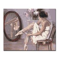 Ramy DIY Obraz Olejny Numery Zestawów Kolorowanki Sobie Buty Do Tańca Balet Dancer Obrazy Na Płótnie Home Decor Ścienne Artwork