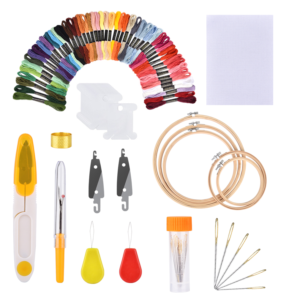 50/100 colores Skeins bordado pluma aguja Set hilo punzón costura tejer Kit mujeres mamá DIY accesorios de costura con pinzas