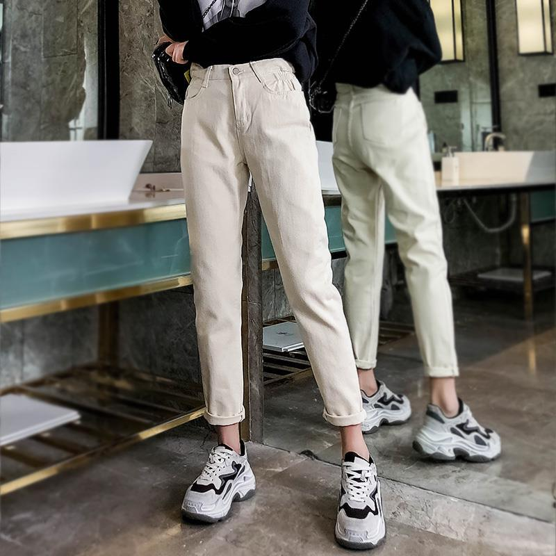 GCAROL 19 Spring Fall Elastic Waist Retro Old Pants Ankle Length First Love Loose Vintage Straight Pants Plus Size 25-32 6