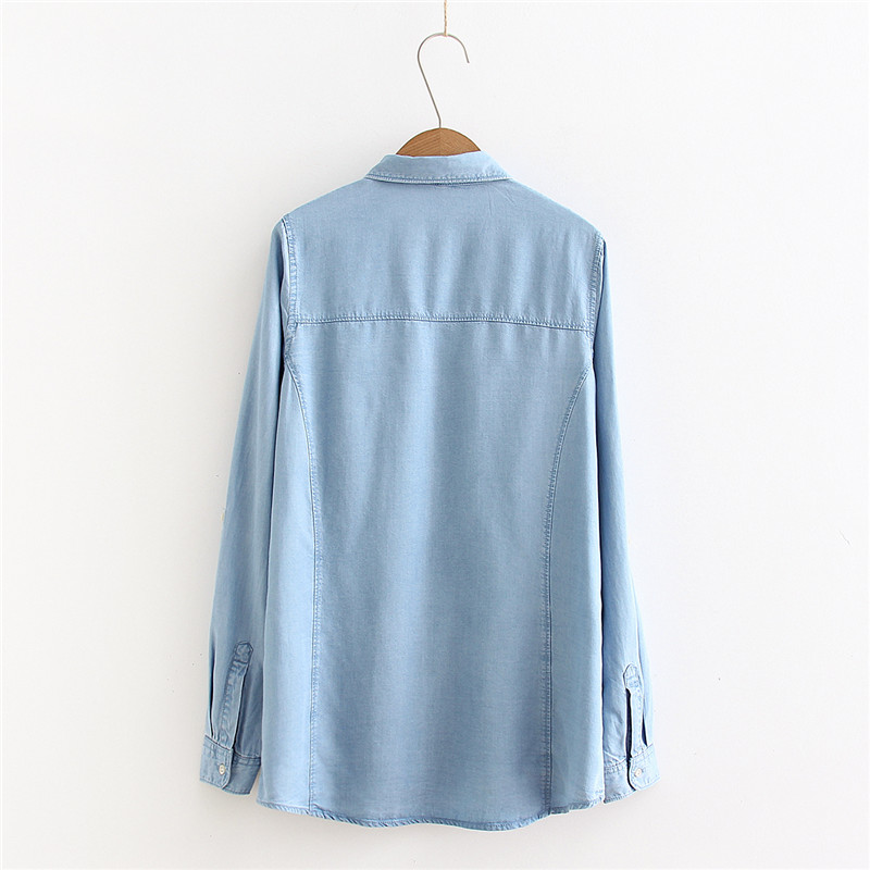 2019 spring and summer new fashion street models loose wild color denim shirt women loose large size sleeves shirt women in Blouses amp Shirts from Women 39 s Clothing