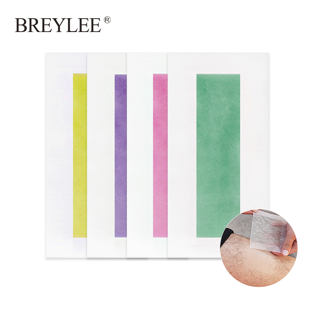 Breylee Hair Removal Wax Strips Papers Face Beard Body Professional Remover Small Size Double Sided Tape 20pcs=10sheets