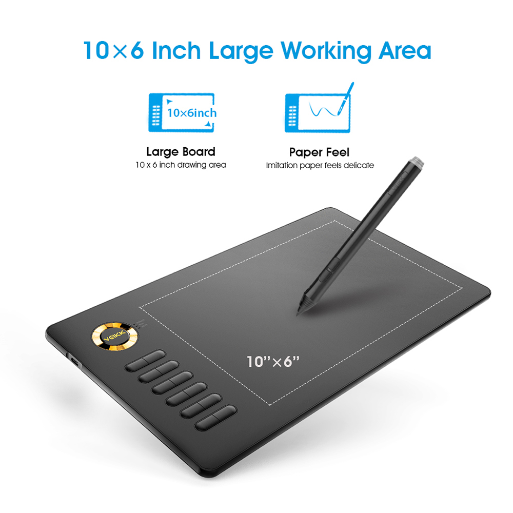 Graphic Tablets VEIKK A15 Digital Tablet 10x6 inche Drawing Pad with 8192 Levels Pressure Sensitivity ON SALE image
