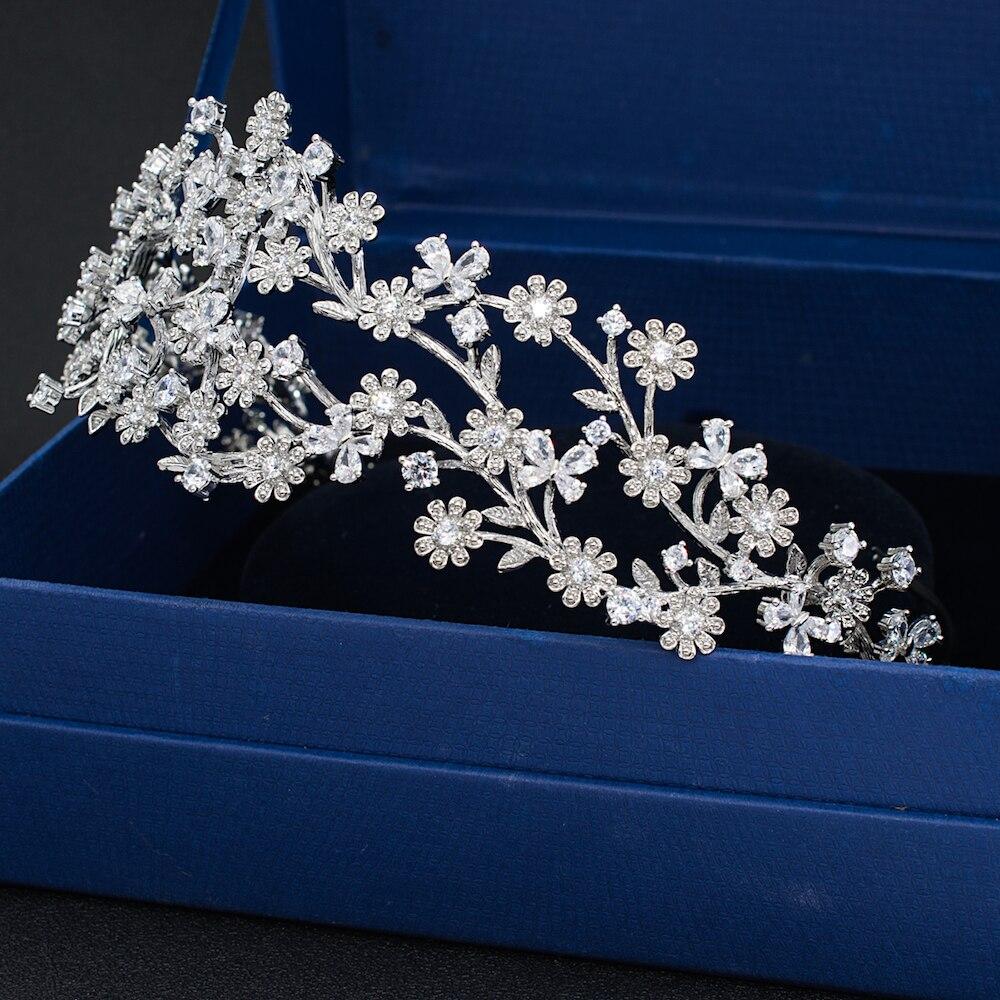 Fashion 3 2 Round Bridal Wedding Daisy Headband Hairband Tiara Flower Hair Jewelry Accessories Hairpieces Cubic