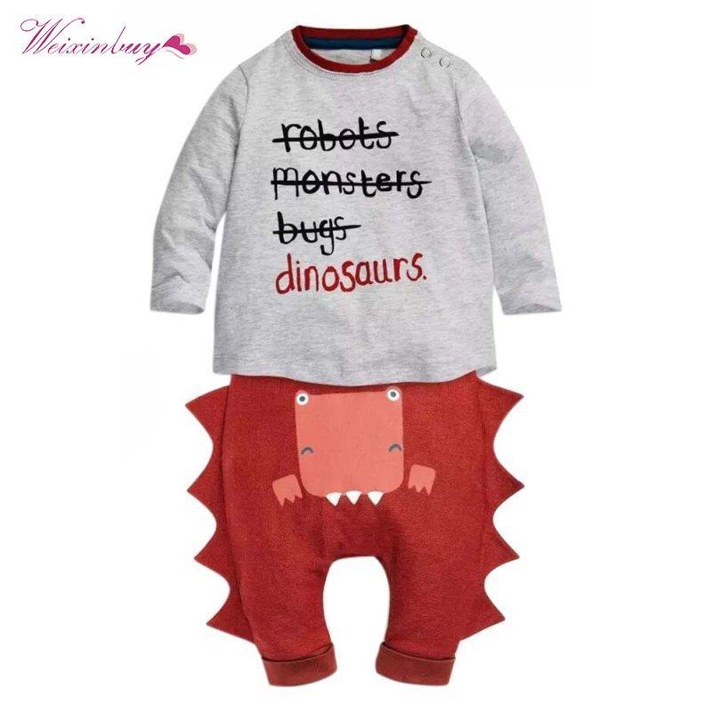 WEIXINBUY Toddler Newborn Clothing Babys Boys Girls Clothes T-shirt Tops+Pants 0-24M