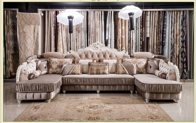 Por European Style Living Room Furniture Sectional Sofa Set In High Quality Fabric U01 Free Shipping
