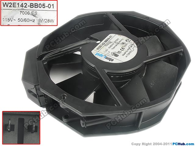ebmpapst W2E142-BB05-01 Server Round Fan DC 115V 25W 172x150x38mm 2-pin sunon eg50050s1 c640 s9a dc 5v 2 25w server cpu fan