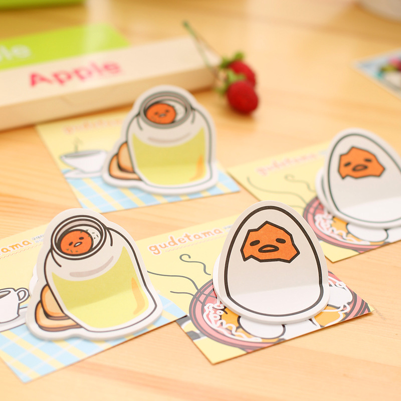 20Pages/Pack New Cartoon Yellow Lazy Egg Memo Pad N Times Guestbook Sticky Notes School Supply Bookmark Post it Label Gift E0673