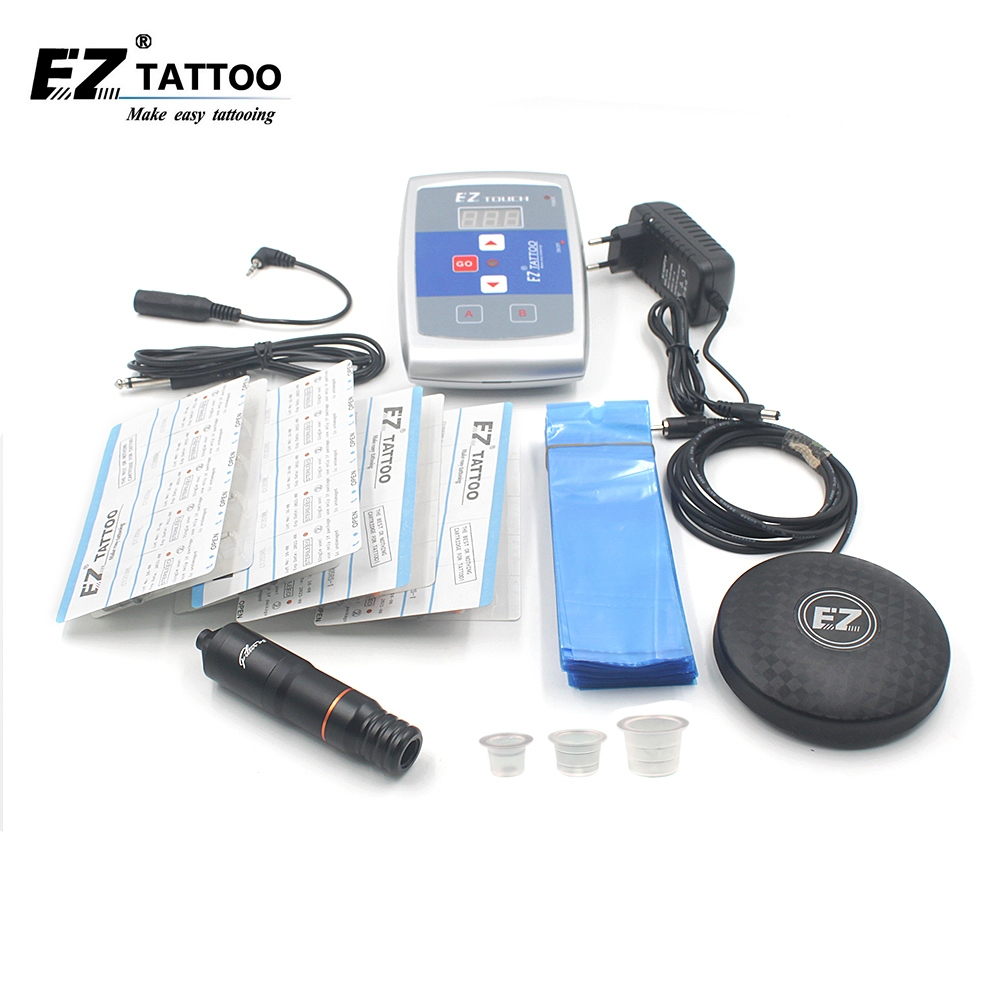 EZ Tattoo Supply Kits  Filter V2 Pen With Revolution Cartridge Tattoo Needles Foot Switch Power Supply Ink Cups 1 set/lot black red yellow blue skull design stainless steel tattoo foot pedal switch footswitch power supply