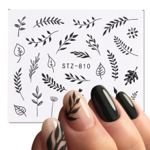 1 Sheet Black White Leaf Nail Art Sticker