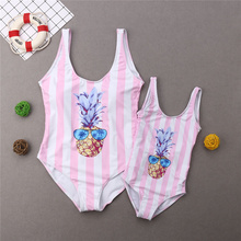 Summer Family Matching Clothes Active Sleeveless Pineapple Pattern Print Red White Striped Mommy and Me Hot Sale