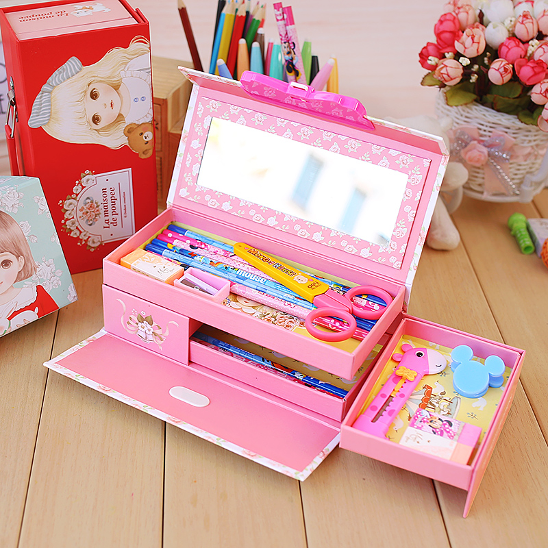Cartoon Cute 3 Layers Password Lock Stationery Box Simple Student Multi-function Paper Pencil Box lock Pencilcase Pencil Cases simple cute pencil cases transparent abs plastic big pencil case for student
