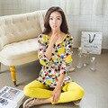 2016 Otoño Pijamas de Las Mujeres Pijamas de Mujer de Dibujos Animados Mono De La Raya Pijamas Femme Homewear ropa de Dormir de Mujer de Manga Larga M ~ XL
