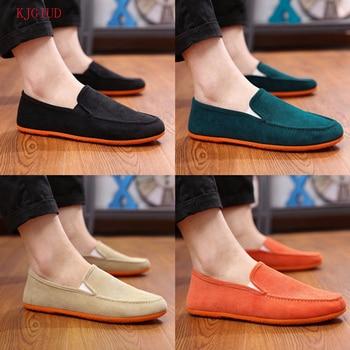 2019 Men's Canvas Peas Shoes Men's Tide Lazy Fashion Casual Flat Shoes A Pedal Driving Shoes Scarpe Uomo Chaussures Homme