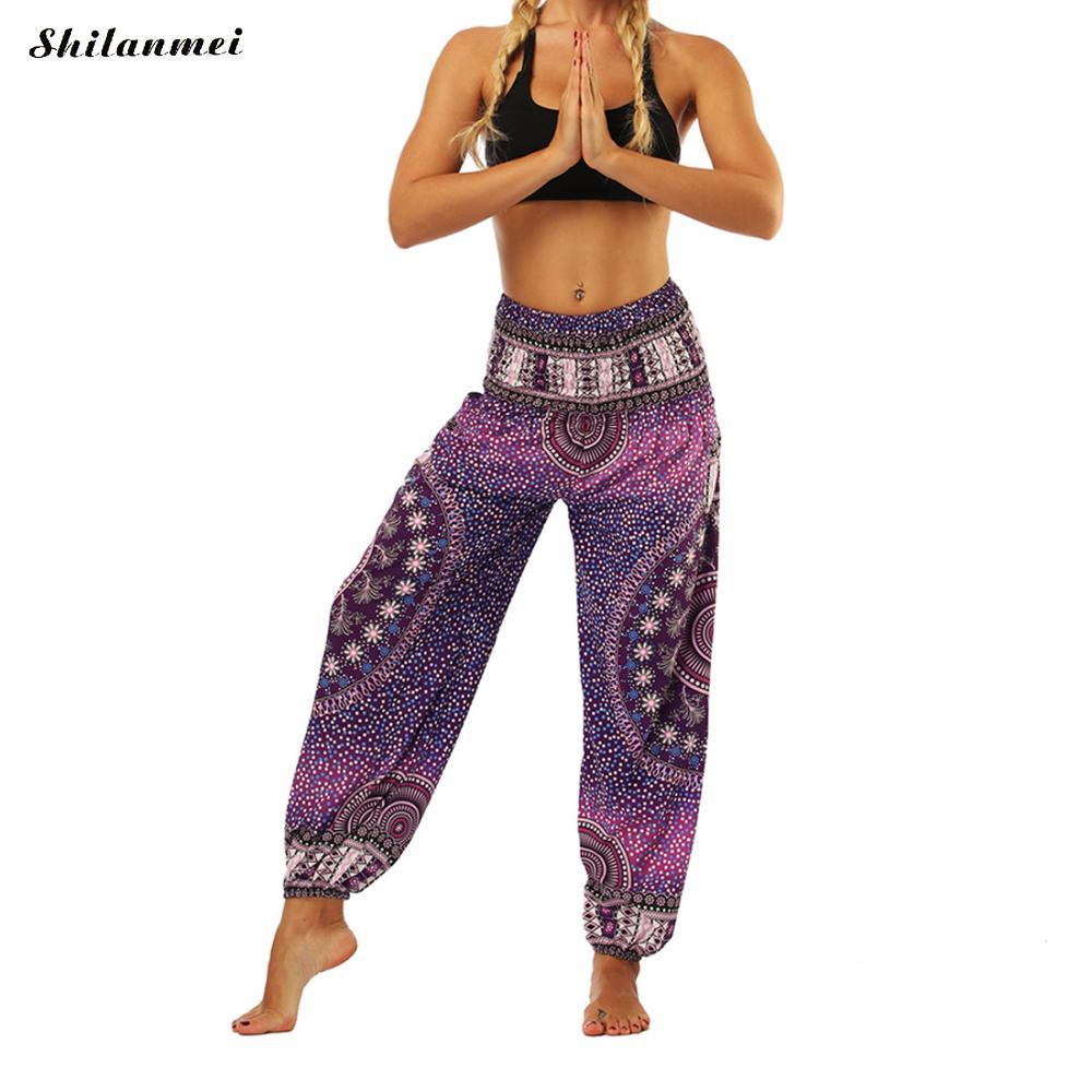 One Size Printed Women Yoga pants Blend Bohemia Multicolor Geometric Print Long Yoga Pants Indian Loose Comfy Harem Trousers