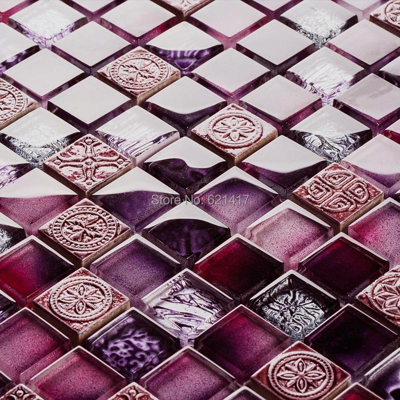 Colore viola mosaico di vetro piastrelle cucina mosaico backsplash bagno doccia parete camera da - Piastrelle viola bagno ...