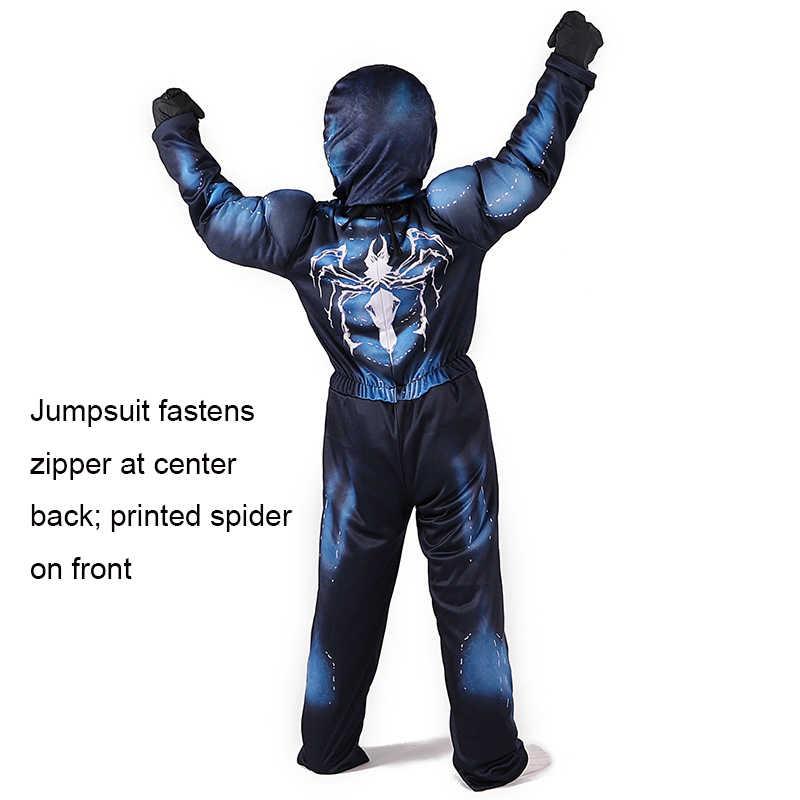 Alta qualidade veneno spiderman muscle cosplay traje marvel super-herói filme veneno traje crianças meninos traje de halloween para crianças