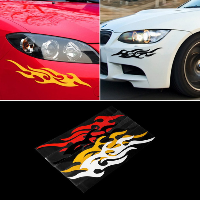 2 stks Universele Auto Sticker Styling Motor Hood Motorcycle Decal Decor Muurschildering Vinyl Covers Accessoires Auto Flame Fire &