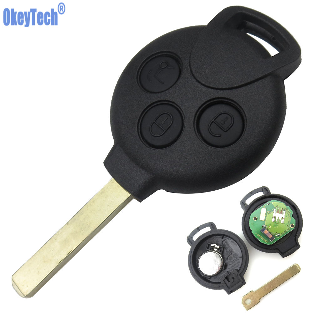 OkeyTech New Remote Key Keyless Entry Fob 3 Button For MERCEDES BENZ MB Smart 451 433MHZ with ID46 7941 Tranponder Chip цены