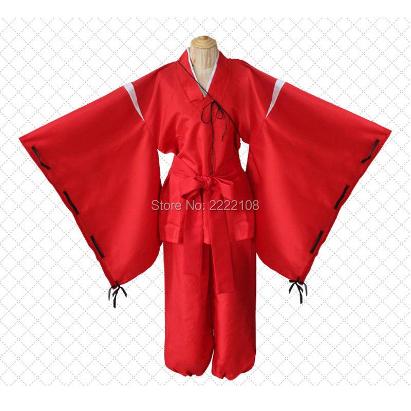 Fashion Anime Inuyasha Cosplay Costume, Bright Red Kimono Costume - Կարնավալային հագուստները - Լուսանկար 3