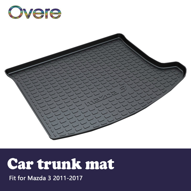 Overe 1Set Car Cargo rear trunk mat For Mazda 3 2011 2012 2013 2014 2015 2016 2017 Styling Boot Liner Anti-slip mat Accessories цена